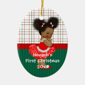 African American Girl's First Christmas Christmas Ornament