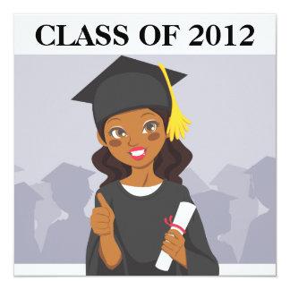 African American Graduate 13 Cm X 13 Cm Square Invitation Card