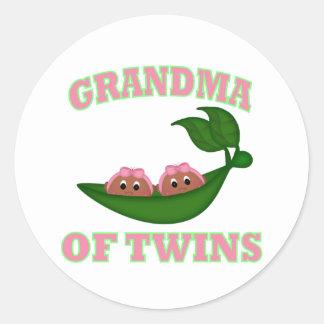 African American Grandma to Twins Round Sticker