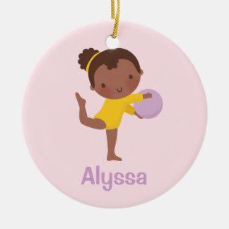 African American Gymnast Girl Gymnastics Ornament