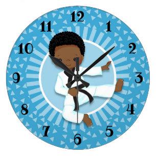 African American Karate Boy Judo Martial Arts Large Clock