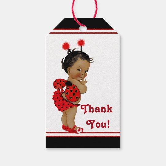 African American Ladybug Baby Shower Gift Tags