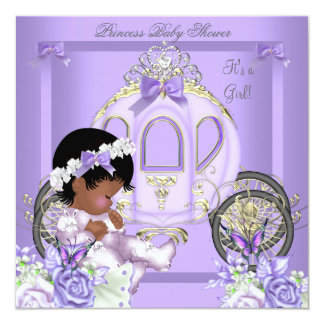 African American Lavender Baby Shower Girl 5 13 Cm X 13 Cm Square Invitation Card