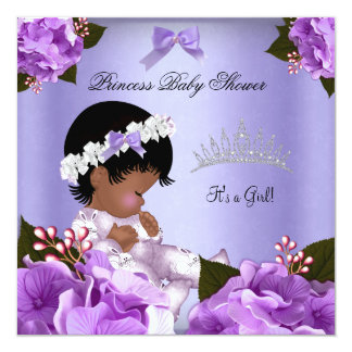 """African American Lavender Baby Shower Girl Floral 5.25"""" Square Invitation Card"""