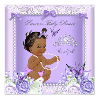 African American Lavender Gray Baby Shower Girl 13 Cm X 13 Cm Square Invitation Card
