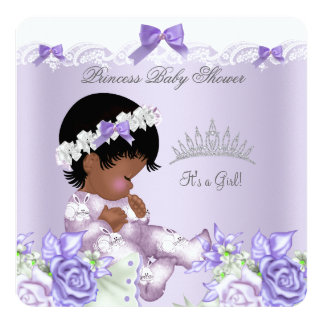 African American Lavender Gray Baby Shower Girl 5.25x5.25 Square Paper Invitation Card