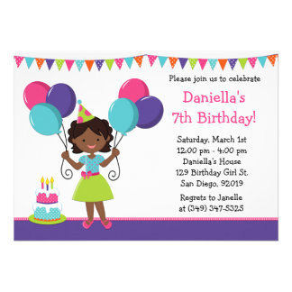 African American Little Girl Birthday Party Custom Invite