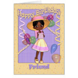 African American Little Girl Friend Birthday Greeting Card