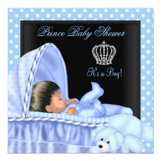 African American Little Prince Baby Shower Boy Personalized Invitations
