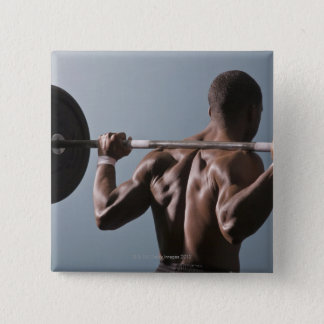 African American man working out the gym 2 15 Cm Square Badge