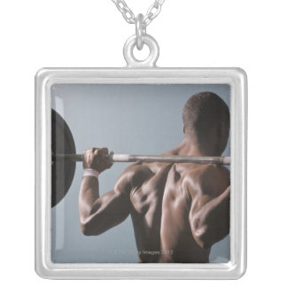 African American man working out the gym 2 Silver Plated Necklace