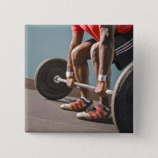 African American man working out the the gym 15 Cm Square Badge
