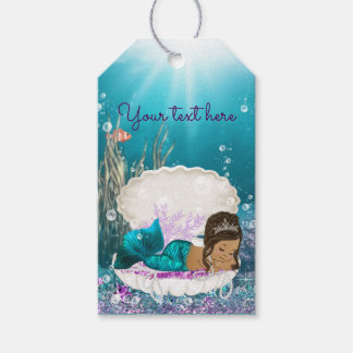 African American Mermaid Baby Shower Favor Gift Tags