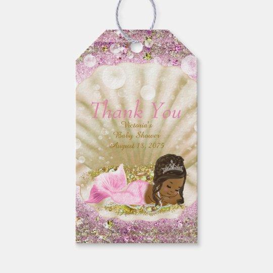 African American Mermaid Baby Shower Gift Tags