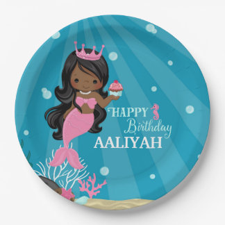 African American Mermaid Birthday Paper Plate