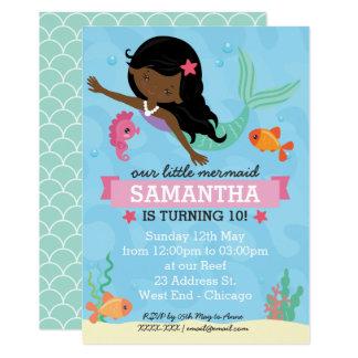 African American Mermaid Birthday Party Card