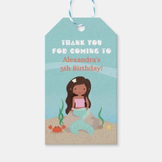 African American Mermaid Birthday Party Gift Tags