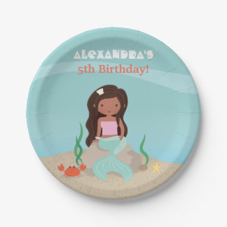 African American Mermaid Birthday Party Supplies 7 Inch Paper Plate