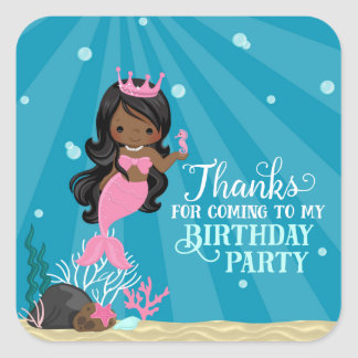 African American Mermaid Birthday Square Sticker