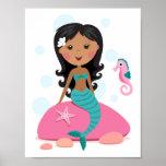 African American mermaid girl starfish seahorse Poster