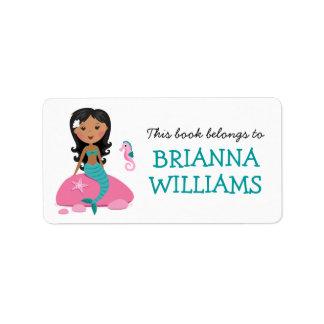 African American mermaid & seahorse bookplate book Label