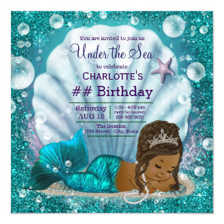African American Mermaid Under the Sea Birthday 13 Cm X 13 Cm Square Invitation Card