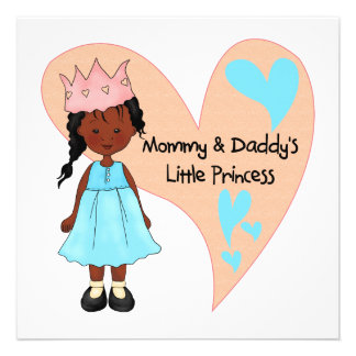 African American Mommy and Daddy's Princess Personalized Invitations