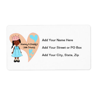 African American Mommy and Daddy's Princess Shipping Label