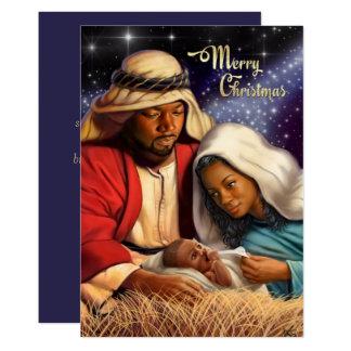 African American Nativity Art Flat Christmas Cards 13 Cm X 18 Cm Invitation Card