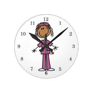 African American Nurse Round Clock