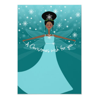 African American or Black Christmas Fairy on Teal 13 Cm X 18 Cm Invitation Card