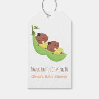 African American Pea Pod Twin Thank You Gift Tags