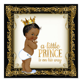 African American Prince Baby Shower 13 Cm X 13 Cm Square Invitation Card