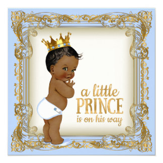 African American Prince Baby Shower Baby Blue 13 Cm X 13 Cm Square Invitation Card