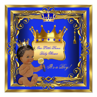 African American Prince Baby Shower Boy Blue Gold 13 Cm X 13 Cm Square Invitation Card