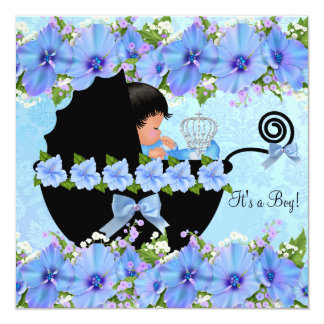 African American Prince Baby Shower Boy Blue Invite