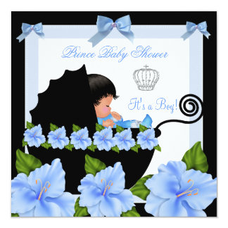 African American Prince Baby Shower Boy Blue Pram Personalized Announcement