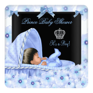 African American Prince Baby Shower Boy Floral 2 13 Cm X 13 Cm Square Invitation Card