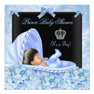 African American Prince Baby Shower Boy Floral Invite