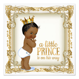 African American Prince Baby Shower Ethnic Boy 13 Cm X 13 Cm Square Invitation Card