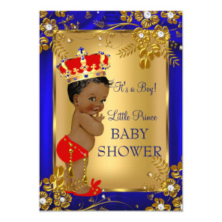 African American Prince Baby Shower Gold Red DD1 13 Cm X 18 Cm Invitation Card