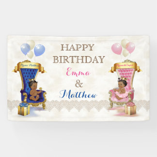 African American Prince & Princess Twins Boy Girl Banner
