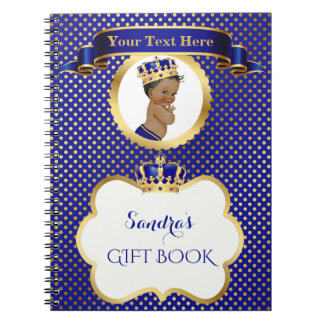 African American Prince Royal Blue Gold Gift Guest Spiral Note Book