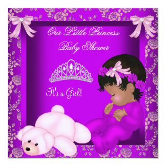 African American Princess Baby Shower Girl 3 13 Cm X 13 Cm Square Invitation Card
