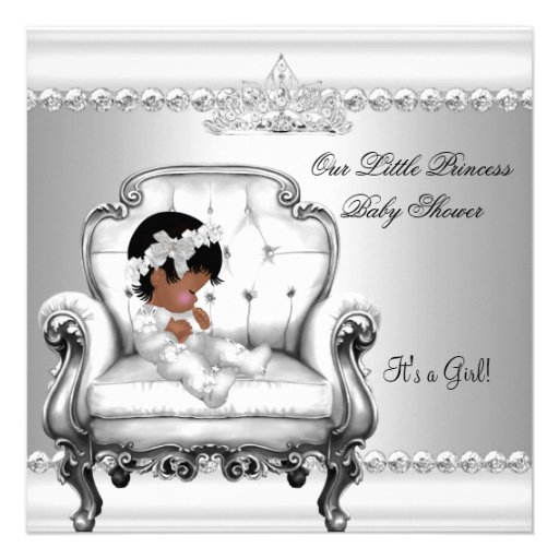 African American Princess Baby Shower Girl Chair 2 Personalized Announcements