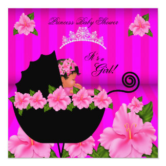 African American Princess Baby Shower Girl Flower Personalized Announcements