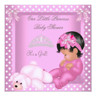 African American Princess Baby Shower Girl Pink 13 Cm X 13 Cm Square Invitation Card