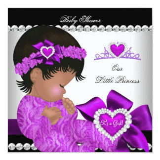 "African American Princess Baby Shower Girl Purple 5.25"" Square Invitation Card"
