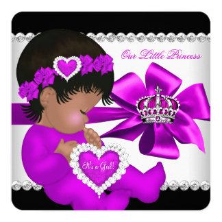 African American Princess Baby Shower Girl Purple 13 Cm X 13 Cm Square Invitation Card