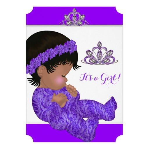 African American Princess Baby Shower Girl Purple Custom Announcement